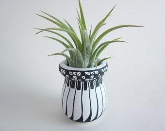 Air plant holder, Wood art vase, small vase, Southwest art,  Feather Indian art