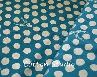 Kokka Echino Metallic Sambar Turquoise with Silver Lightweight Canvas Linen Japanese Fabric Deer Fat Quarter