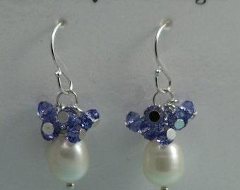 Pearl & Iolite Earrings, Iolite Earrings, Iolite and Pearl Earrings, Iolite Cluster Earrings, Iolite Pearl Cluster