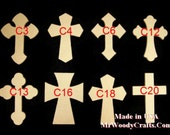 "25 4"" x 6"" x 1/2"" Wooden Cross made from MDF, Your choice from 8 styles with keyholes for hanging"