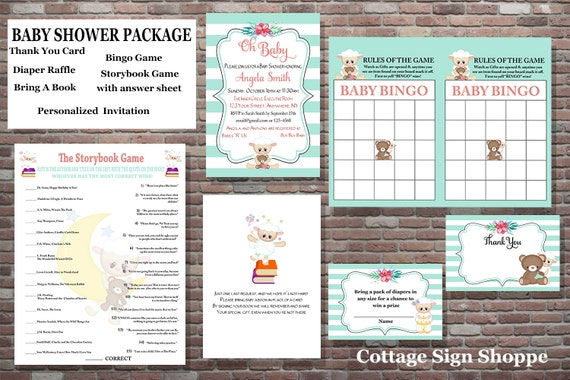 Baby Shower Package, Baby Shower Invitation, Baby Shower Games, YOU PRINT, Personalized Baby Shower Invitation, Baby Bingo Game
