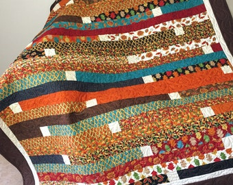 Autumn Forest Fancy Jelly Roll Race Lap Quilt or Sofa Throw in Brown, Rust, Black and Teal, Quilted Throw for Fall