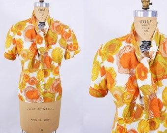 """1950s blouse vintage 50s orange floral print short sleeve tie neck top L W 35"""""""