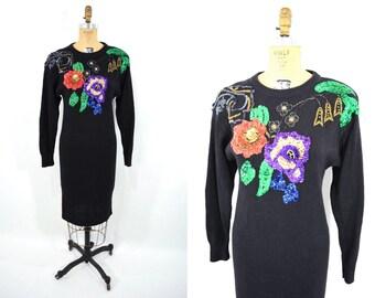 1980s dress vintage 80s black beaded long sleeve sweater dress S/M