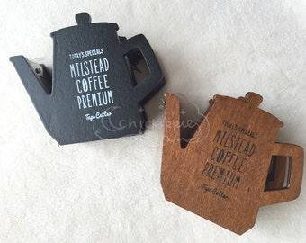 Wooden Washi Tape Dispenser - Coffee Pot - Black / Tan