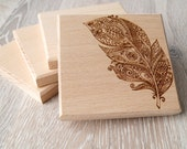 Wooden coasters, solid wood drink or coffee coasters, engraved coasters