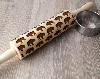 Embossing rolling pin, Buffalo design, Cookie decorating rolling pin