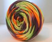 T Shirt Yarn Hand Dyed - Halloween: Neon Green, Purple, Black, Orange