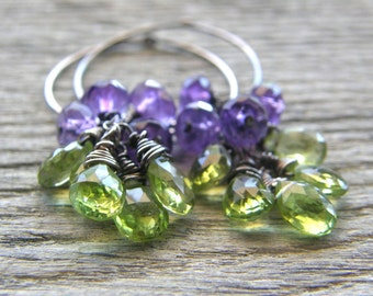 RESERVED FOR SHAY - Green Peridot and Purple Amethyst Sterling Silver Hoop Earrings
