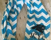 Carolina panthers aqua chevron infinity scarf / football / monogram scarf / personalized scarf