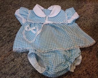 Vintage baby girl dress and bloomer set, blue gingham, 12 mos
