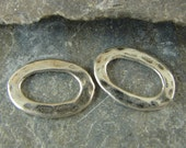 Sterling Silver Artisan Hammer Textured Oval Links - One Pair - 10 x 14mm - lahto
