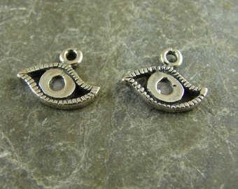 Sterling Silver Itty Bitty Little Eye Charms - Protective Amulet - Evil Eye - One Pair - cible