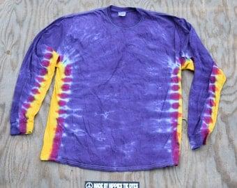 Royal Purple Crown - Side Stripe Tie Dye Longsleeve T-shirt (Gildan Ultra Cotton Longsleeve Size XL)(One of a Kind)
