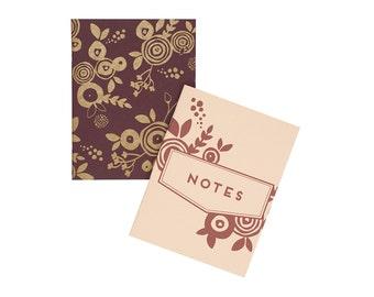 Floral Notes Pocket Notebook Set - Journal | Blank Pages | Stitch Bound - Flower Gold Merlot