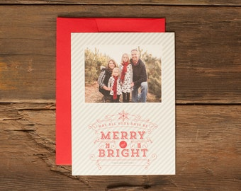 Custom Holiday Photo Cards - Personalized Christmas Card - Merry and Bright Red