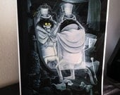 Fashionably Late to the Party - Hatbox Ghost - Haunted Mansion Fan Art - Archival Digital Print