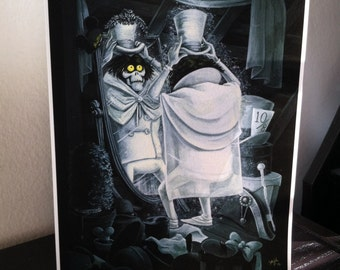 Fashionably Late to the Party - 8x10 Inch Hatbox Ghost,  Haunted Mansion Fan Art - Archival Digital Print