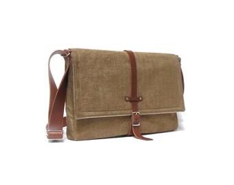 """13"""" / 15"""" / 17"""" MacBook Pro messenger bag - camel brown"""