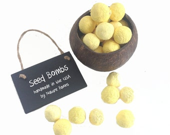 Seed Bomb Garden Gifts - Fun Bright Yellow Party Favors, Party Table Decorations or School Fundraisers, Customer Appreciation, Birthdays