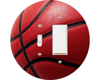 Burgundy Basketball Sports Toggle and Decora Rocker Switch Plate Cover