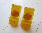 Tiki Earrings - Translucent Yellow Honey - Rockabilly Style - Post Earrings - Handmade