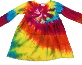 Tie Dyed Hot Sunshine Rainbow  Spiral Long Sleeve Infant 3 Tier Single Lettuce Edge Dress In Stock and READY TO SHIP
