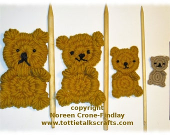 Rolly Polly Flat Teddy Bear Woven on Weaving Sticks PDF Pattern