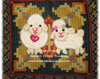 Whimsical Folkloric Sheep Pattern Woven on Weaving Sticks or Peg Looms