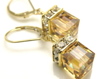 Yellow Topaz Crystal Earrings, Swarovski Cube Drop Earrings, Gold Filled, Bridesmaid Wedding Jewelry, Handmade November Birthday Gift