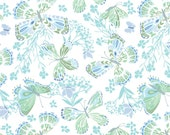 White Green Blue Aria Fabric -  Moda - Kate Spain - 27230 17 - Butterflies and Flowers