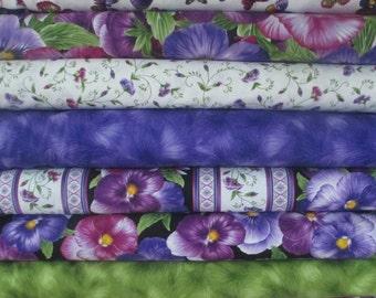 Purple Pansy Half Yard Fabric Bundle - Timeless Treasures - Viola