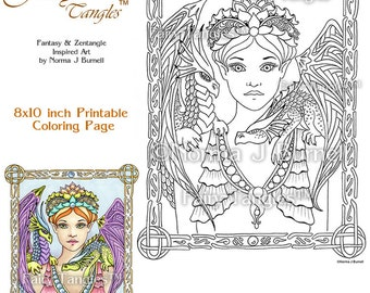 Fairy Queen Dragons Fairy Tangles Printable Coloring book sheets Norma J Burnell Fairies Adult Coloring Book Pages Digital Coloring Files