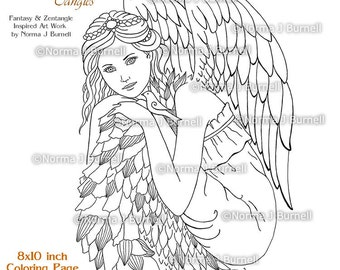 Angels Joy Fairy Tangles Printable Coloring Pages and Coloring Sheets Norma Burnell Angel with Dove printable Digital Adult Coloring pages