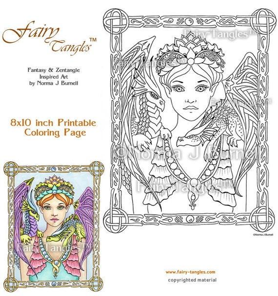 fairy queen dragons fairy tangles printable coloring book sheets norma j burnell fairies adult coloring book pages digital coloring files - Coloring Pages Dragons Fairies