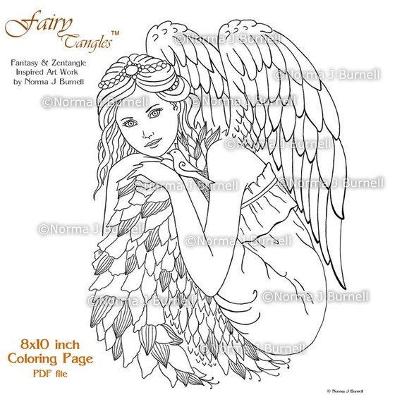 fairy tangles printable coloring pages by norma j burnell. Black Bedroom Furniture Sets. Home Design Ideas