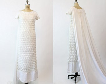 60s Crochet Wedding Gown Small / 1960s White Column Dress with Train / The Russo Gown