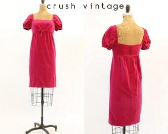 60s Dress Velvet Empire XS / 1960 Vintage Dress / New York Minute Dress