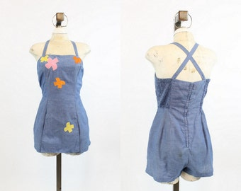 50s Romper Gabar Medium / 1950s Vintage Romper Playsuit Swimwear  / Darling Dolly Beach Romper
