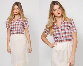 ON SALE Vintage 70s PLAID Dress Short Sleeve Secretary Dress Preppy Printed Midi Shirt Dress