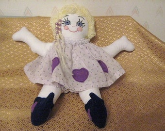 Rag Doll with Hand Embroidered Face