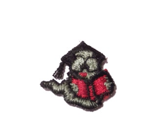 Bookworm Patch Embroidered Applique for Clothing Librarian Nerd 1980s cute animal kitsch retro