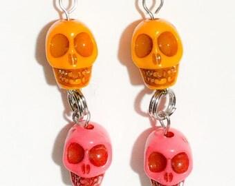 Orange and Pink Skull Dangle Earrings