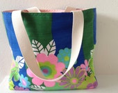 Vintage Fabric Tote/ Handbag/ Purse/ Beach Bag