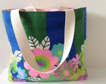 Vintage Fabric Tote/ Handbag/ Purse/ Beach Bag