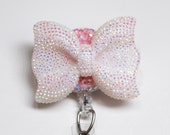 White Shimmery Bow ID Badge Reel - Retractable ID Badge Holder - Zipperedheart