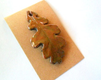 Autumn Raku Fired Clay Oak Leaf Pendant Finding