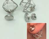 Geometric silver front back earrings, ear jacket sterling silver, ear jacket, double sided earrings, ear cuff jacket