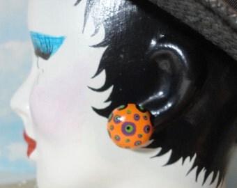 Vintage Dome Clip on Earrings  Enameled in Orange,Purple, Green and Black
