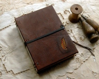 The Writer- Dark Brown Leather Journal, Recycled, Aged Paper, OOAK